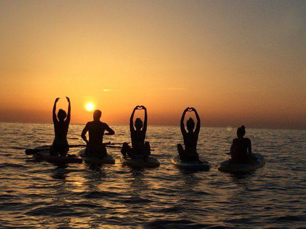 coucher de soleil paddle surf ibiza